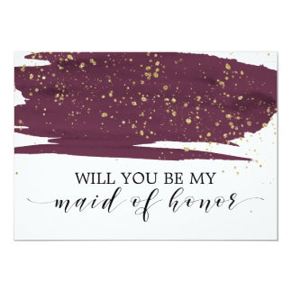 Watercolor Marsala Will You Be My Maid Of Honor Card