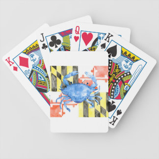 Watercolor maryland flag and blue crab bicycle playing cards