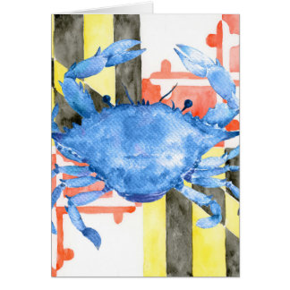 Watercolor maryland flag and blue crab card