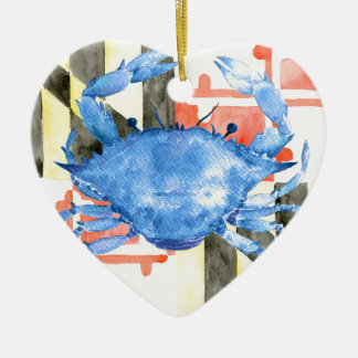Watercolor maryland flag and blue crab ceramic heart ornament