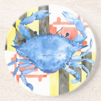 Watercolor maryland flag and blue crab coaster