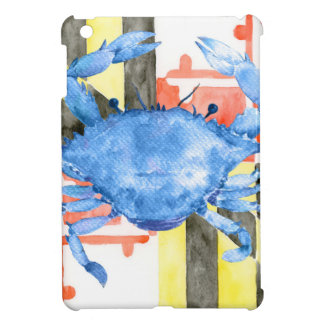 Watercolor maryland flag and blue crab cover for the iPad mini
