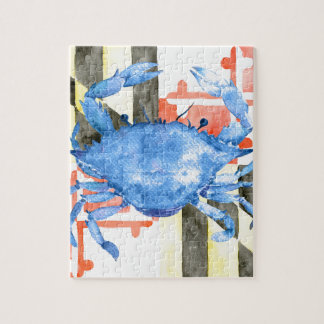 Watercolor maryland flag and blue crab jigsaw puzzle
