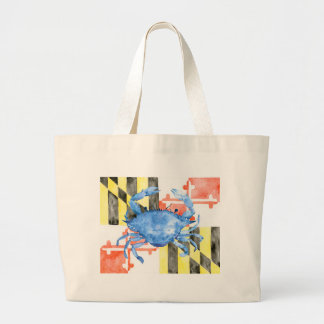 Watercolor maryland flag and blue crab large tote bag