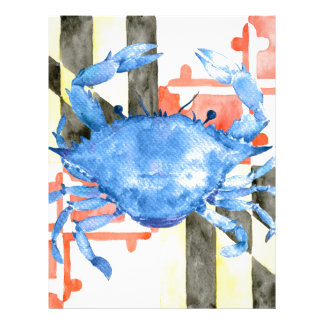Watercolor maryland flag and blue crab letterhead