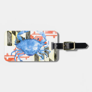 Watercolor maryland flag and blue crab luggage tag