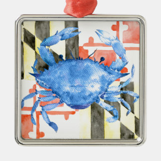 Watercolor maryland flag and blue crab metal ornament