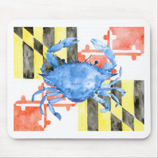 Watercolor maryland flag and blue crab mouse pad