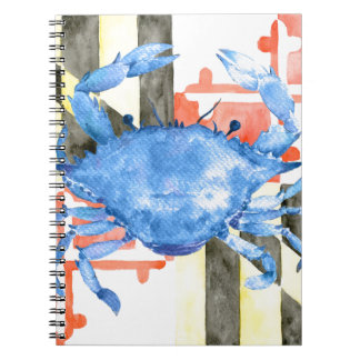 Watercolor maryland flag and blue crab notebook