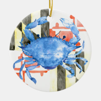 Watercolor maryland flag and blue crab round ceramic ornament