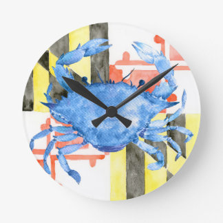 Watercolor maryland flag and blue crab round clock