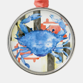 Watercolor maryland flag and blue crab Silver-Colored round ornament