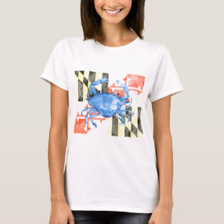 Watercolor maryland flag and blue crab T-Shirt