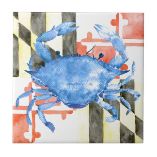Watercolor maryland flag and blue crab tile