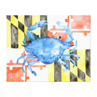 Watercolor Maryland Flag Blue Crab Canvas Print