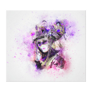 Watercolor masquerade canvas print