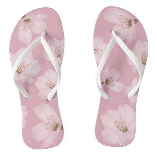 Watercolor Mauve Cherry Blossom Sakura Flip Flops