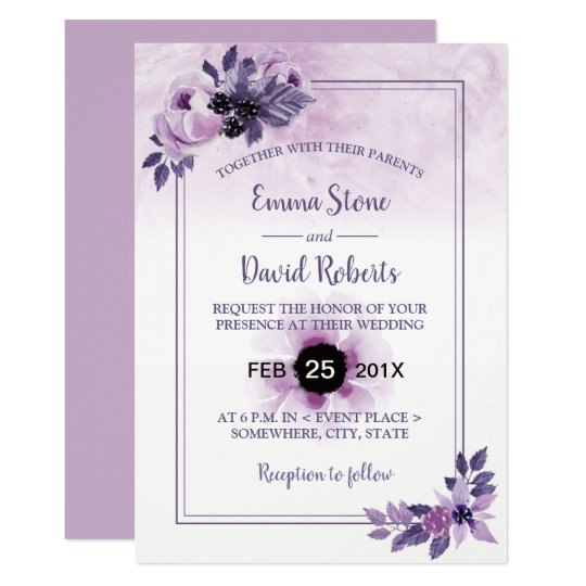 Watercolor Mauve Floral Elegant Spring Wedding Card