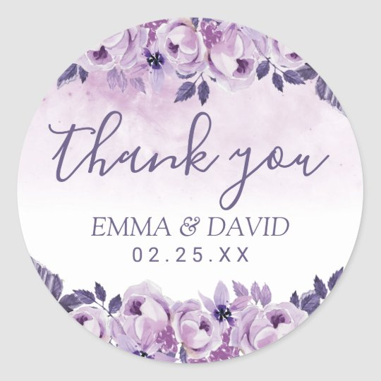 Watercolor Mauve Floral Elegant Wedding Thank You Classic Round Sticker