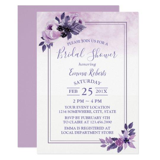 Watercolor Mauve Floral Spring Bridal Shower Card