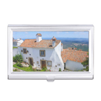 Watercolor Mediterranean house Business Card Holder