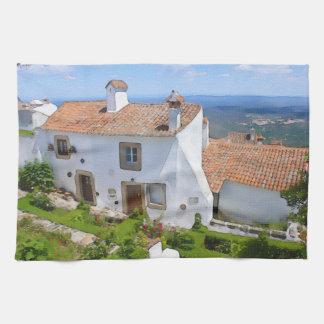 Watercolor Mediterranean house Kitchen Towel