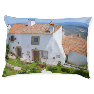 Watercolor Mediterranean house Large Dog Bed