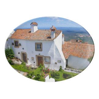 Watercolor Mediterranean house Porcelain Serving Platter