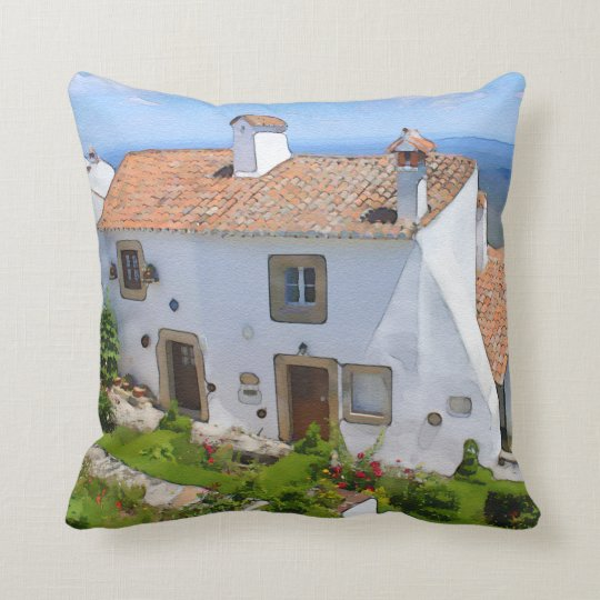 Watercolor Mediterranean house Throw Pillow