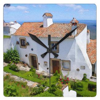 Watercolor Mediterranean house Wall Clocks