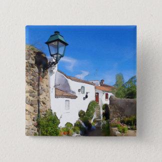 Watercolor Mediterranean village 2 Inch Square Button