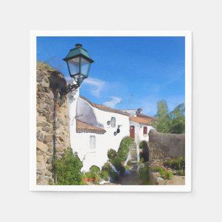 Watercolor Mediterranean village Paper Napkin