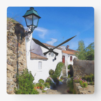 Watercolor Mediterranean village Wall Clocks