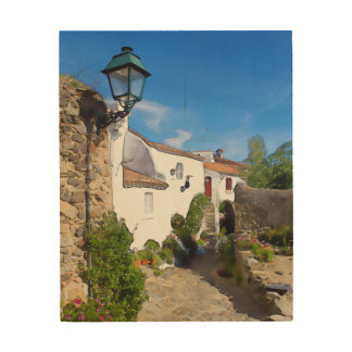 Watercolor Mediterranean village Wood Wall Art