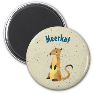 Watercolor Meerkat on a Beige Background 2 Inch Round Magnet