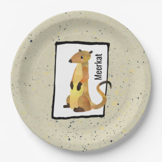 Watercolor Meerkat on a Beige Background 9 Inch Paper Plate