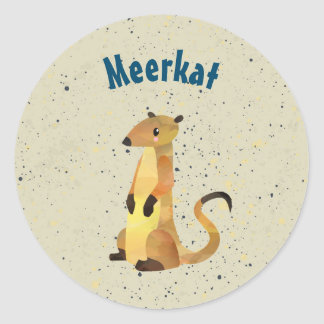 Watercolor Meerkat on a Beige Background Classic Round Sticker