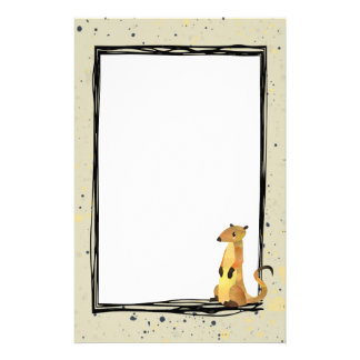 Watercolor Meerkat on a Beige Background Customized Stationery