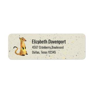 Watercolor Meerkat on Beige Back with Splatters Return Address Label