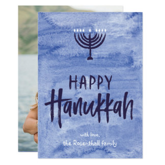 Watercolor Menorah Hanukkah Flat Photo Card