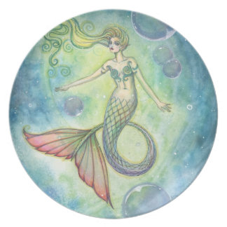Watercolor Mermaid Art Plate by Molly Harrison