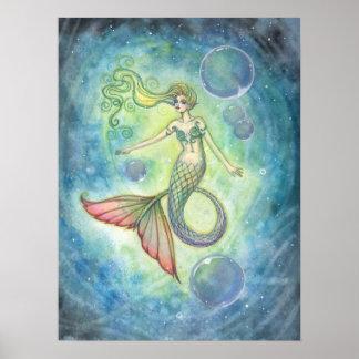 Watercolor Mermaid Fantay Art by Molly Harrison Poster