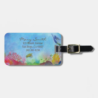 Watercolor Mermaid Luggage Tag
