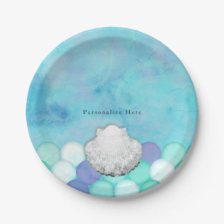 Watercolor Mermaid Scales Birthday Party Custom 7 Inch Paper Plate