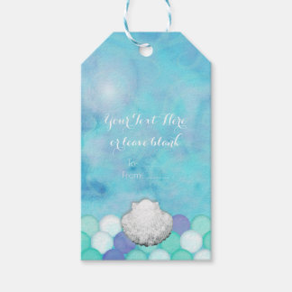 Watercolor Mermaid Scales Birthday Party Favor Gift Tags