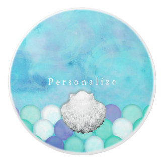 Watercolor Mermaid Scales Custom Dresser Cabinet Ceramic Knob