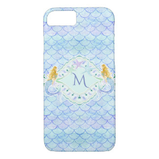 Watercolor Mermaid Starfish Fish Scale Pattern Art Case-Mate iPhone Case