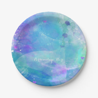 Watercolor Mermaid Tail Birthday Party Custom 7 Inch Paper Plate