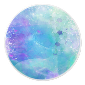 Watercolor Mermaid Tail Fantasy Enchanted Ocean Ceramic Knob
