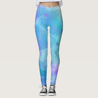 Watercolor Mermaid Tail Fantasy Enchanted Ocean Leggings